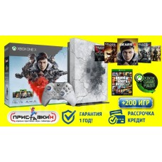 Xbox One X 1 TB Gears Edition РСТ + 5 игр + 200 игр по подписке (2 джойстика)