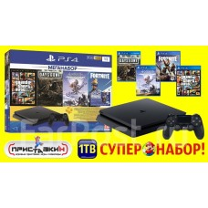 Sony Playstation 4 Slim 1 Tb + 4 игры + 2 джоя