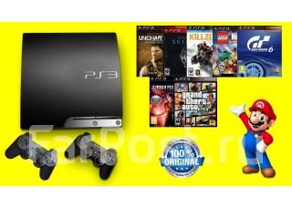 PS3 Slim 640 GB + 2 джоя + 64 игры